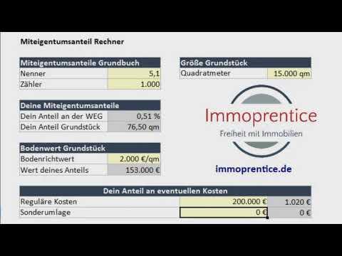 Immoprentice Miteigentumsanteil Excel - Berechne deinen Miteigentumsanteil innerhalb einer WEG