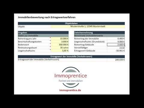 Immoprentice Ertragswert Excel - Berechne den Wert deiner Immobilie nach dem Ertragswertverfahren