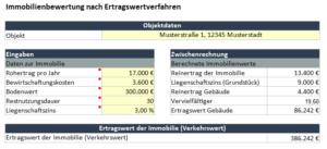 Screenshot des Immoprentice Immobilien-Ertragswert Excel. Mit diesem Tool kannst du strukturiert, schnell und einfach den Ertragswert einer Immobilie ermitteln.