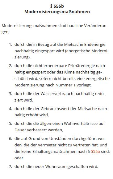 Die möglichen Gründe für eine Mieterhöhung wegen Modernisierung sind in § 555b BGB abschließend festgelegt. (Quelle: Screenshot von § 555b BGB von dejure.org)