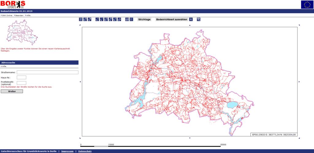 Webseite von Boris Berlin. Hier kannst du kostenlos die aktuellen Bodenrichtwerte für Berlin abrufen.