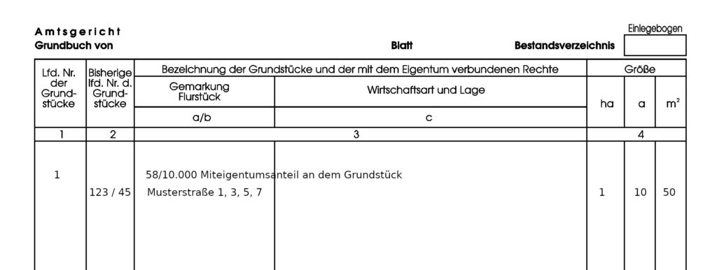 Beispiel Grundbuch mit Angabe der Miteigentumsanteile an einem Grundstück