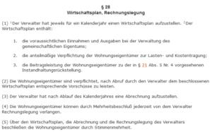 Screenshot von § 25 des Wohnungseigentumsgesetz, welches die rechtlichen Rahmenbedingungen für den Wirtschaftsplan bietet.