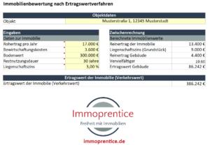 Screenshot des Immoprentice Ertragswertverfahren Excel. Ein Tool um kostenlos den Wert deiner Immobilie oder Wohnung nach dem Ertragswertverfahren zu berechnen.