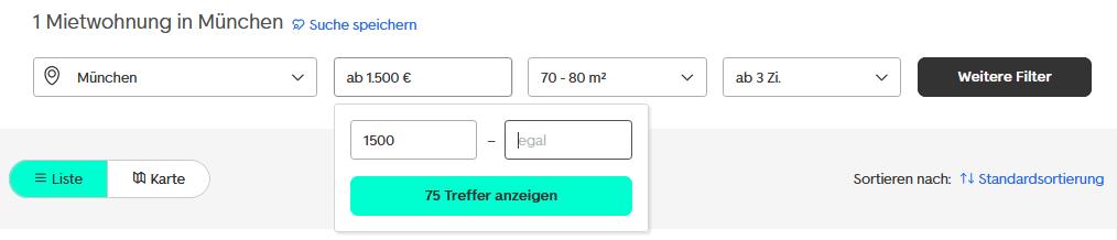 Screenshot von einer Mietwohnungs-Suche nach 70-80qm großen Dreizimmer-Wohnungen in München mit mindestens 1500€ Nettokaltmiete. (Quelle: immobilienscout24.de)