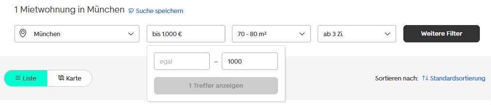 Screenshot von einer Mietwohnungs-Suche nach 70-80qm großen Dreizimmer-Wohnungen in München mit maximal 1000€ Nettokaltmiete. (Quelle: immobilienscout24.de)