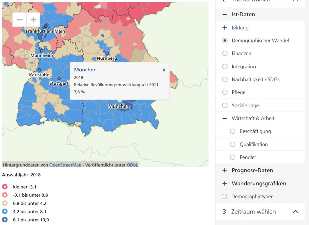 Screenshot der Bevölkerungsentwicklung in München zwischen 2011 und 2018: Wachstum um 7,8% (Quelle: wegweiser-kommune.de, ein sehr hilfreiches Tool für Immobilien-Investoren)