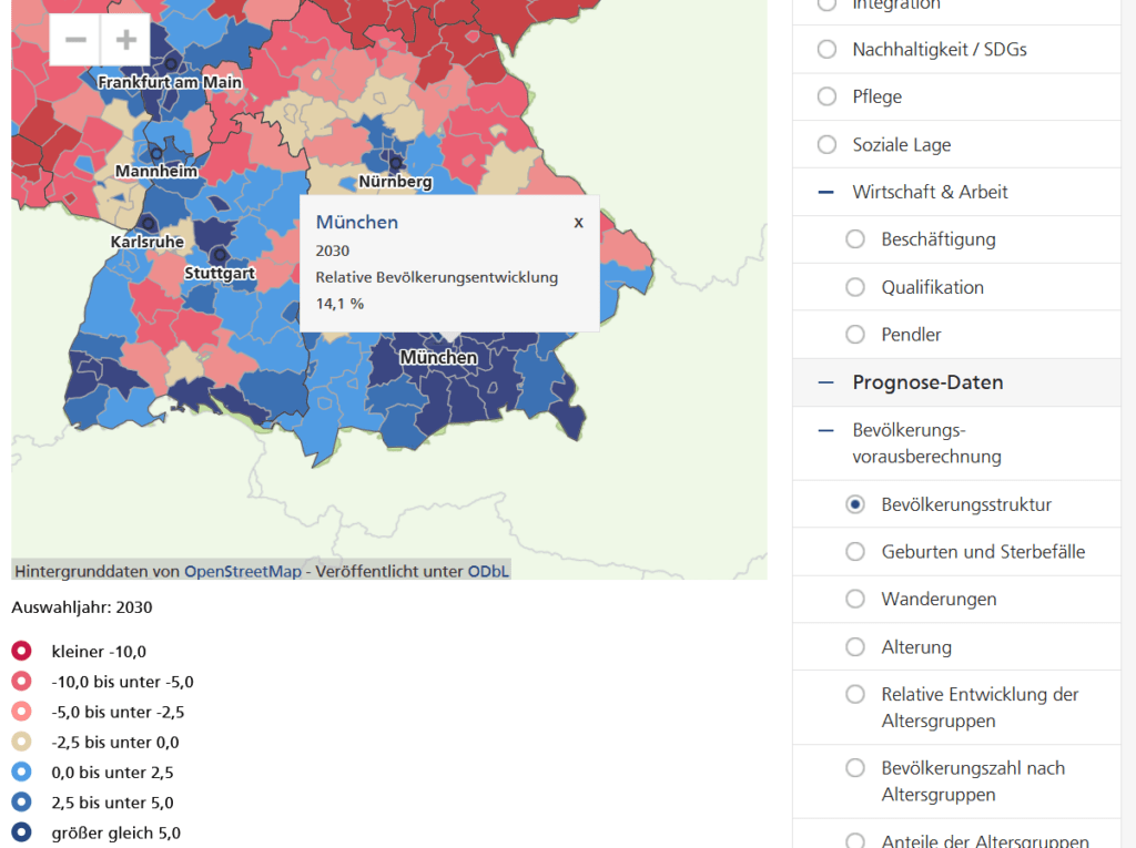Screenshot der vorhergesaten Bevölkerungsentwicklung für München: Bis zum Jahr 2030 soll die Bevölkerung noch einmal um 14,1% steigen. (Quelle: wegweiser-kommune.de)