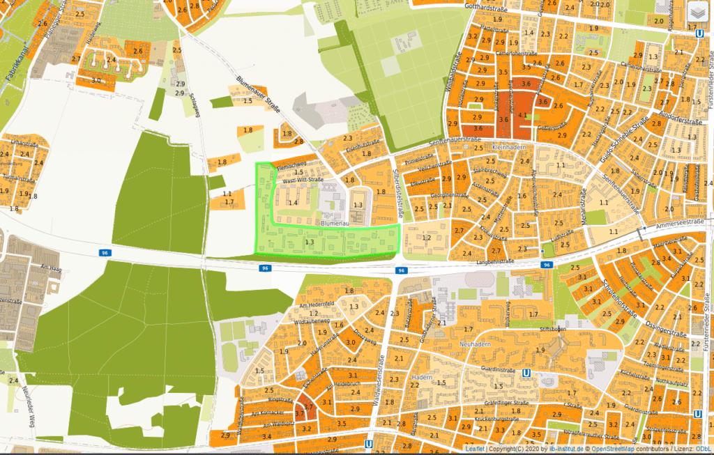 Bewertung von Immobilien Inseraten anhand der Wohnlagenkarte: Bewertung der Wohnlage für die Beispiel Immobilie aus wohnlagenkarte.de