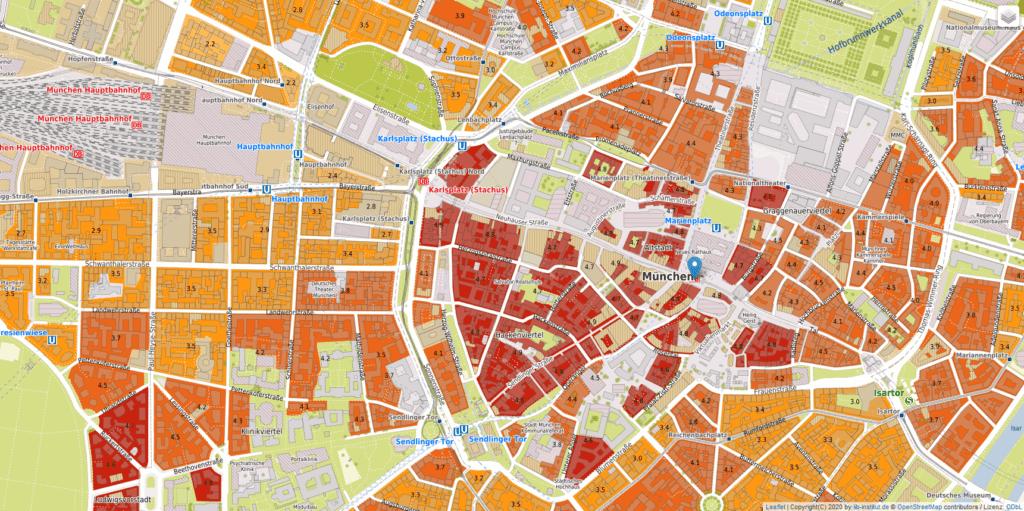 Screenshot der Wohnlagen für die Münchner Innenstadt mit Stand von 2020. (Quelle: wohnlagenkarte.de)