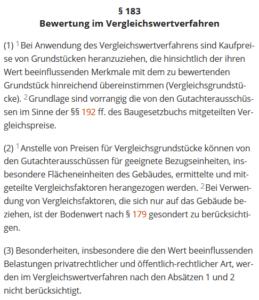 Die Bewertung von Immobilien nach dem Vergleichswertverfahren ist in § 183 im Bewertungsgesetz (BewG) geregelt. (Quelle: dejure.org)