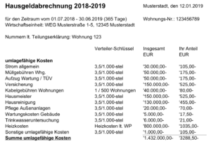 Beispiel für eine Hausgeldabrechnung für das Wirtschaftsjahr 2018 / 2019 für den Umlagefähigen Teil des Hausgeld.