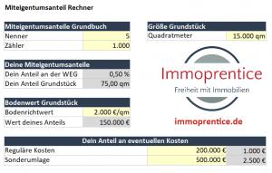 Screenshot des Immoprentice Miteigentumsanteil-Rechner Excel. Mit diesem Tool kannst du schnell und einfach berechnen wie viele Miteigentumsanteile du durch den Kauf einer Eigentumswohnung innerhalb einer WEG hast und wie stark du dich zukünftig an eventuellen Kosten beteiligen musst.