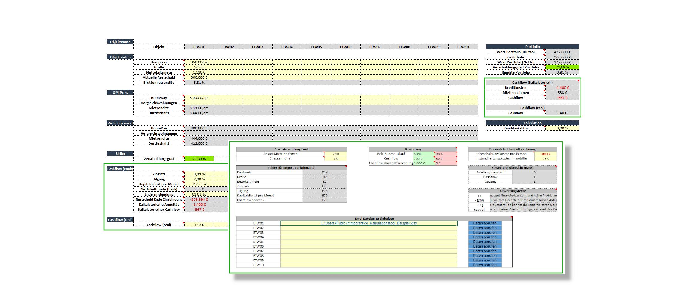 Screenshot des Immoprentice Portfolio Excel für Immobilien. Ein Tool um dein Immobilienportfolio zu managen. (Standard Variante)