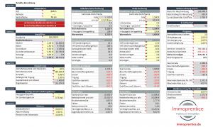 Screenshot des Immoprentice Immobilien-Kalkulationstool in Excel. Mit diesem Tool kannst die Mietrendite berechnen und allgemein strukturiert, schnell und einfach eine komplette Immobilien Kalkulation in Excel durchführen.